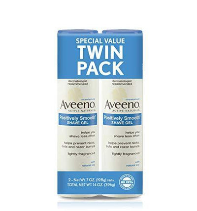 Aveeno Positively Smooth Moisturizing Shave Gel, 7 Oz (1 Pack of two items)