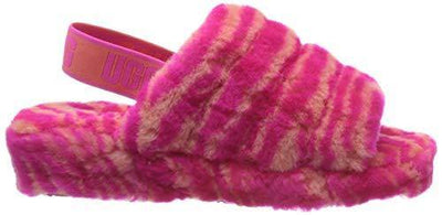 UGG Fluff Yeah Slide Zebra Slipper, Rock Rose, Size 9