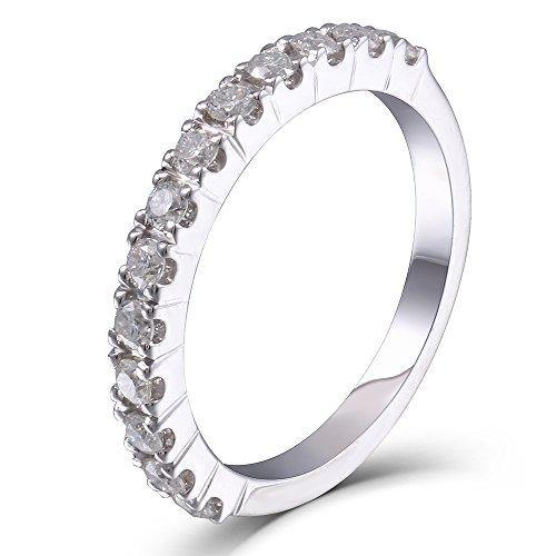 0.4CTW HI 2.26mm Width Moissanite Lab Created Diamond Half Eternity Wedding Band 925 Silver for Women (7)