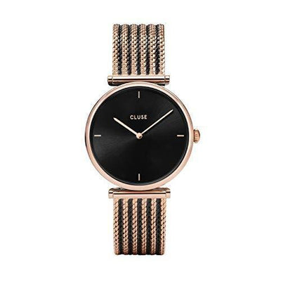 CLUSE Triomphe Mesh Bicolour Rose Gold Black Black CL61005 Women's Watch 33mm Stainless - PRTYA