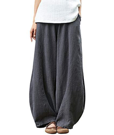 IXIMO Women's Casual Cotton Linen Baggy Pants with Elastic Waist Relax Fit Lantern Trousers Gray M