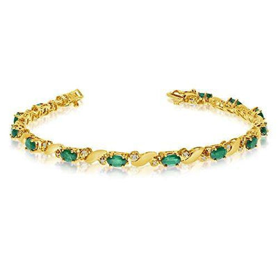 14k Yellow Gold Natural Emerald And Diamond Tennis Bracelet (6 Inch Length)