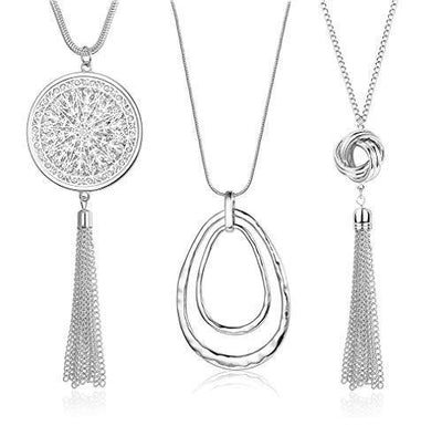 SEVENSTONE 3PCS Long Pendant Necklaces for Women Knot Disk Circle Tassel Statement Sweater Silver Necklace Set
