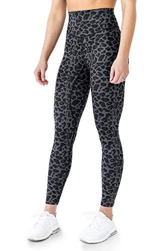 Kamo Fitness High Waisted Soft Leggings 7/8 Length Seamless Waistband Pattern Tights (Nine Iron Leopard, M)