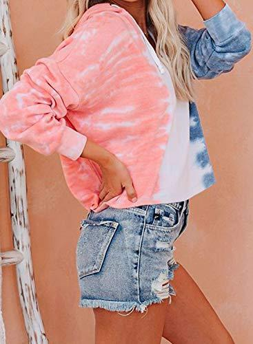 BLENCOT Women's Juniors Cute Tie Dye V Neck Long Sleeve Hoodie Sweatshirts Soft Flowy Hooded Shirt Tops Orange M - PRTYA