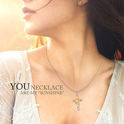 SNZM Sunflower Pendant Necklace for Women Gold Flower Necklace for Mom Girls, You are My Sunshine Jewelry Gifts for Christmas Birthday