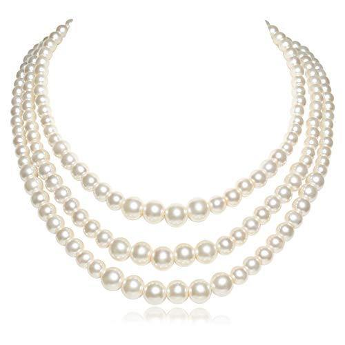 BABEYOND Round Imitation Pearl Necklace Vintage Multi Strands Choker Necklace 20s Flapper Necklace for Party (Style2)