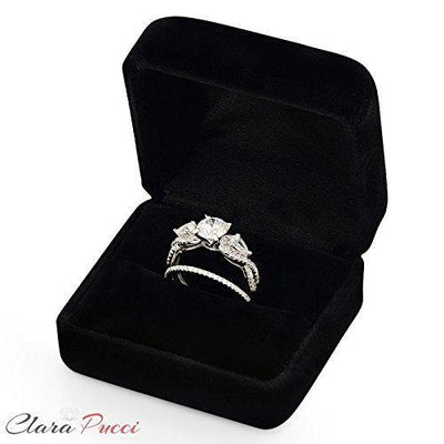 Clara Pucci 1.9 CT Round And Pear Cut Pave Halo Bridal Engagement Wedding Ring band set 14k White Gold, Size 10