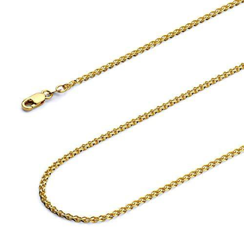 Wellingsale 14k Yellow Gold Solid 2mm Flat Open Wheat Chain Necklace - 22""