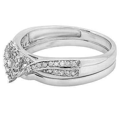 Dazzlingrock Collection 0.33 Carat (ctw) Round White Diamond Marquise Shape Bridal Engagement Ring Set 1/3 CT, Sterling Silver, Size 7