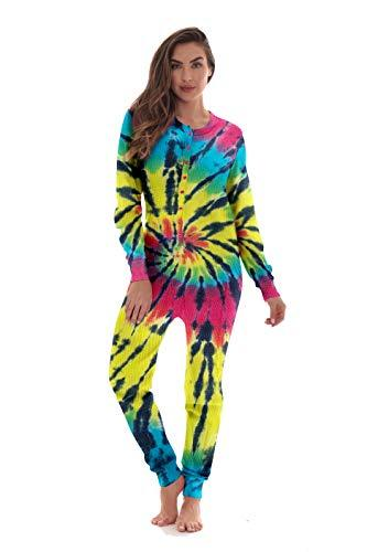 #followme Women's Tie Dye Henley Thermal Onesie 6769-10488-M - PRTYA