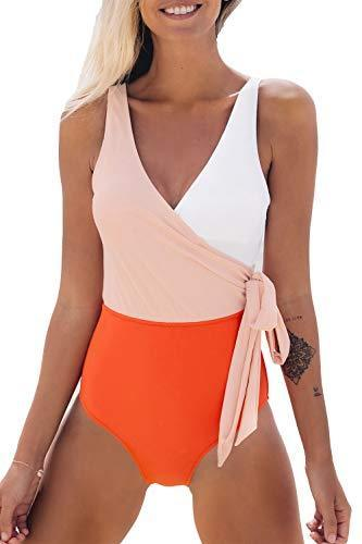 CUPSHE Women's Orange White Bowknot Bathing Suit Padded One Piece Swimsuit, M - PRTYA