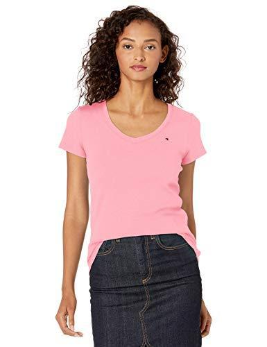 Tommy Hilfiger Women's Short Sleeve V-Neck T-Shirt (Standard and Plus Size), Peony, X-Large