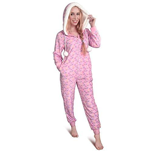 Littleforbig Super Soft Plush Fleece Adult Onesie Pajamas Sherpa Lined Hoody One Piece Sleepwear- Snuggle Bows Pattern 3XL Pink