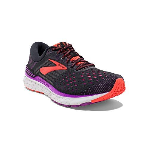 Brooks Womens Transcend 6 Running Shoe - Black/Purple/Coral - B - 8.0 - PRTYA
