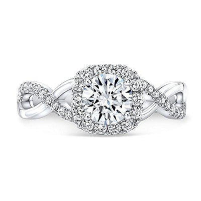 DIAMOND MANSION Natural Round Cut Twisted Pave Diamond Engagement Ring - GIA Certified (Yellow-Gold, 3.70)
