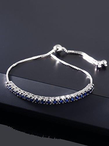 Gem Stone King Sterling Silver Blue Sapphire Tennis Bracelet Gemstone Birthstone 2.50 cttw Fully Adjustable Up to 9 Inch