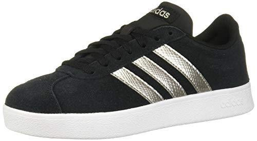 adidas Women's VL Court 2.0 Sneaker, Black/Platinum Metallic/White, 9.5 M US