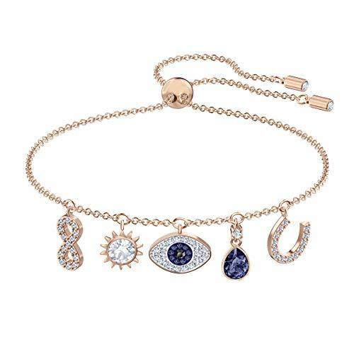 SWAROVSKI Women's Symbolic Evil Eye Charm Bracelet, Blue & White Crystal, Rose-Gold Tone Plated, One Size (5497668)