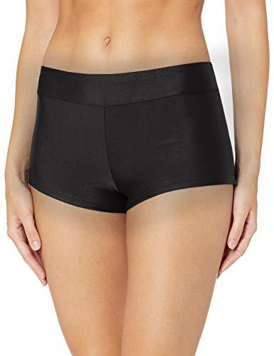 Catalina Women's Boyshort Banded Bikini Swim Bottom Swimsuit, Black, Medium - PRTYA