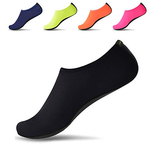 JACKSHIBO Men Women Quick-Dry Water Skin Shoes Aqua Socks for Water Indoor Sports Swim Surf Yoga Exercice Beach Pure Black 9-10.5 Women/8-9.5 Men