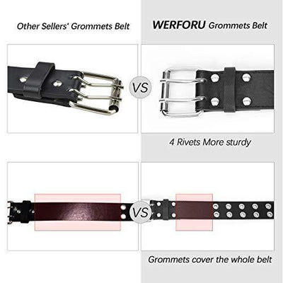 "WERFORU 2Pack Double Grommet Belt PU Leather Punk Belt for Women Jeans (suit for pant below 35"", A-Black+White)"