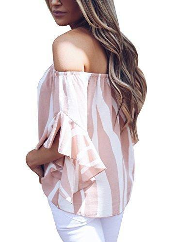 Asvivid Womens Summer Striped Printed Off The Shoulder Tops 3 4 Flared Bell Sleeve Blouses Casual Tie Knot Ladies T-Shirt M Pink - PRTYA