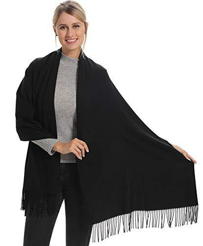 Women Pashmina Scarf Wrap Shawl, Black Cashmere Soft Wool, Travel Blanket Accessories, Evening Wedding Party, Mom in Law Female Hostess Grandma Best Friend Sister Wife Girlfriend Christmas Good Gift