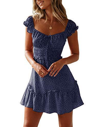 Yobecho Womens Summer Ruffle Sleeve Sweetheart Neckline Printing Dress (Medium, Navy Blue)