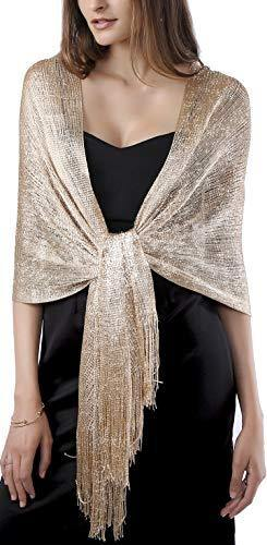MissShorthair Women's Sparkle Shawls and Wraps for Party Dresses (Champagne Gold)