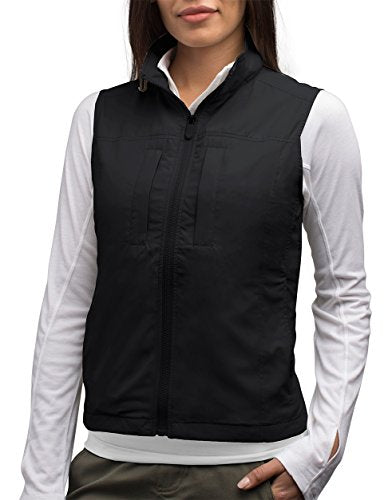 SCOTTeVEST Featherweight for Women - Lightweight Travel Vest - Safari Vest (BLK S)