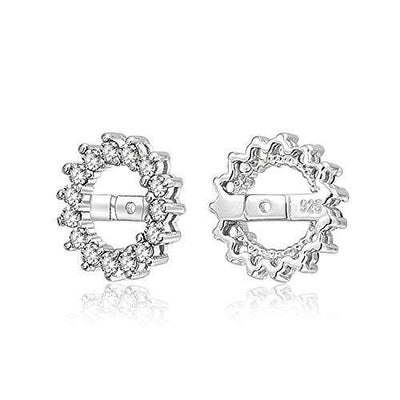 White Clear Cubic Zirconia CZ Round Pave Halo Earrings Jackets For Studs Jacket Only For Women 925 Sterling Silver