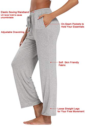 fitglam Women's Lounge Pants, Loose High Waist Yoga Pants, Drawstring Pajama Bottoms with Pockets(Black,L)