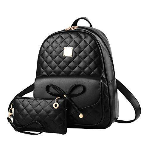 I IHAYNER Girls Bowknot 2-PCS Fashion Backpack Cute Mini Leather Backpack Purse for Women Black