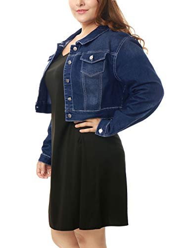 uxcell Women's Plus Size Button Closed Cropped Denim Jacket Dark Blue 3X