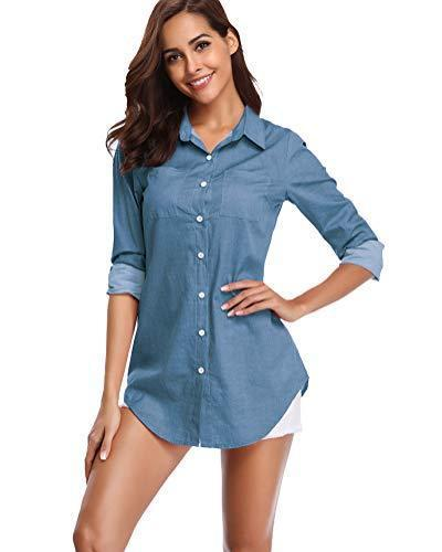 fuinloth Women's Chambray Button Down Shirt, Long Sleeve Cotton Blouse, Long Jeans Tunic Top Blue Large