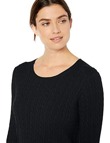 Amazon Essentials Women's Lightweight Cable Crewneck Sweater, Black, Medium - PRTYA