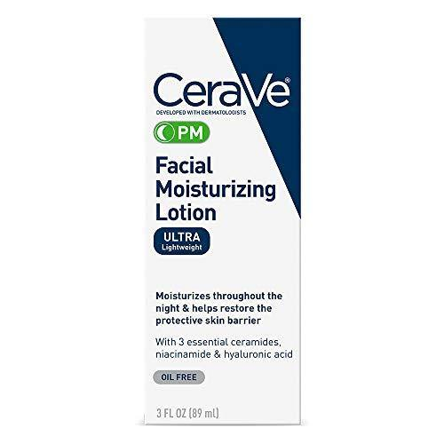 CeraVe Facial Moisturizing Lotion PM | 3 Ounce | Ultra Lightweight, Night Face Moisturizer | Fragrance Free