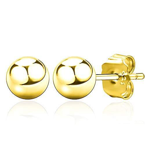 Spoil Cupid 14K Gold Plated 925 Sterling Silver Round Ball Stud Earrings, 6mm Ball Stud
