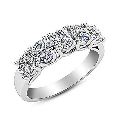 2 Carat (ctw) 14K White Gold Round Diamond Ladies 5 Five Stone Wedding Anniversary Stackable Ring Band Value Collection
