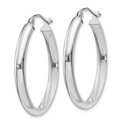 14k White Gold 3.75mm Oval Tube Hoop Earrings Ear Hoops Set Fine Jewelry For Women Gifts For Her