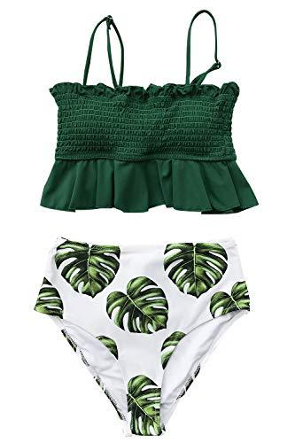 CUPSHE Women's Smocked Green and Monstera Ruffled High Waisted Bikini, M - PRTYA