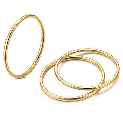 3Pcs 1mm 14K Gold Filled Stackable Rings for Women Band Rings Knuckle Finger Stacking Ring Silver/Rose/Gold Plain Dome Comfort Fit Size 5 to 10