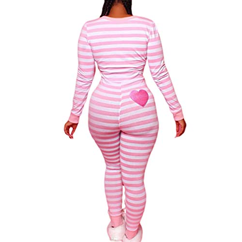 Women Striped One Piece Pajama Union Suit Underwear Set Long Sleeve Christmas Jumpsuit Sleepwear (Pink, S)