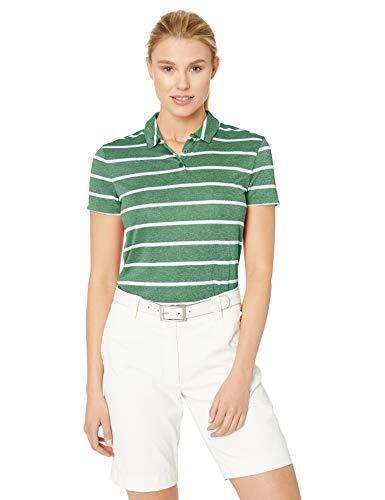 Nike Women's Dri-FIT Striped Golf Polo, Dri-FIT Polo Shirts for Women with Vented Hems, Classic Green/White, S