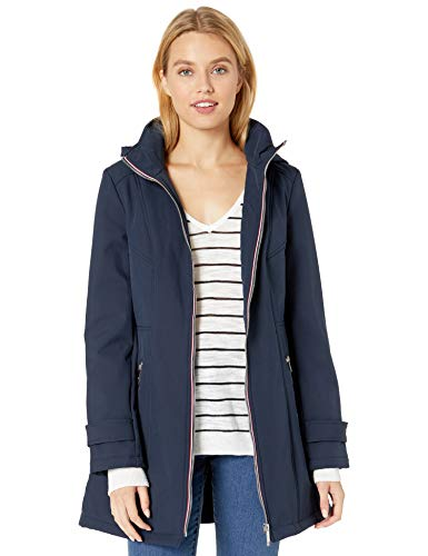 Tommy Hilfiger Women's Soft Shell Rain Jacket with Detachable Hood, Navy, X-Small