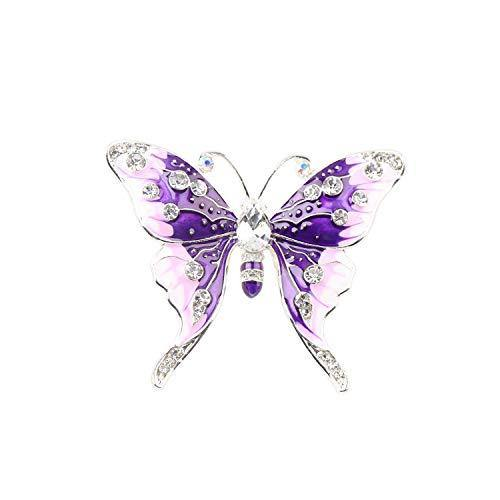 FEELMEM Crystal Rhinestone Butterfly Brooch Pin Blue Color Butterfly Brooches for For Women Girls Wedding/Banquet/Birthday Party (purple)