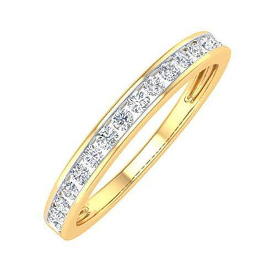 1/4 Carat Channel Set Diamond Anniversary Wedding Band in 10K Yellow Gold (Ring Size : 6)