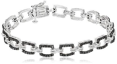 Jewelili Sterling Silver Black and White Diamond Bracelet 1cttw, 7.25 Inches