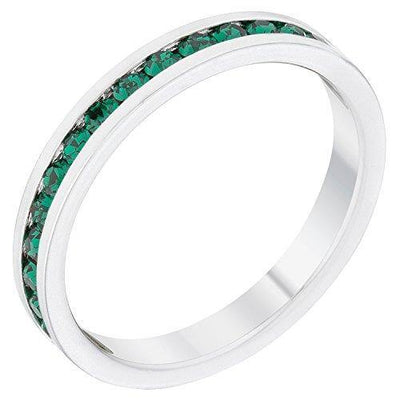 Kate Bissett Stylish Birthstone Stackables Swarovski Crystal Emerald -May Size 8